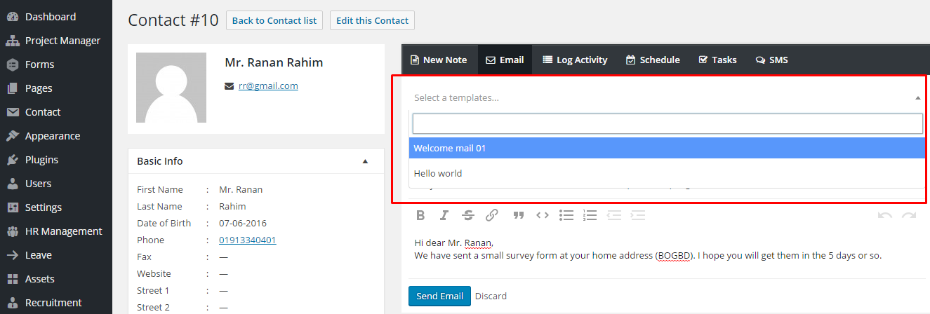 Sending An Email From Template - Erp requirements template