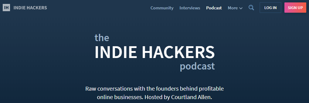 The indie hackers- top 50 business podcasts