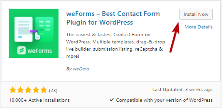 weForms- how to create custom contact form in WordPress