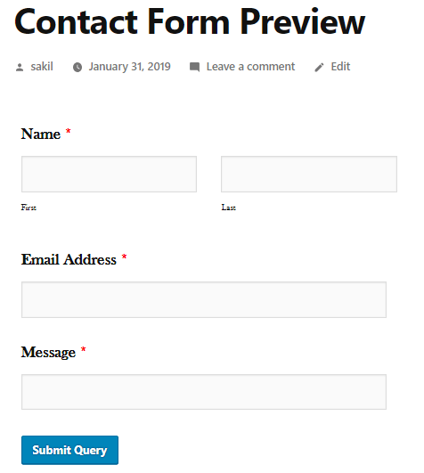 Preview- how to add a contact form in WordPress