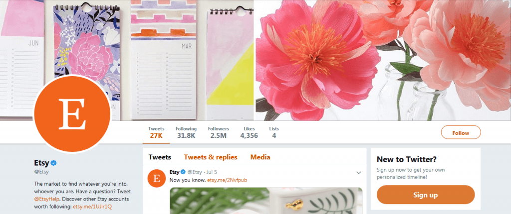 Etsy is aware about how to use Twitter for business