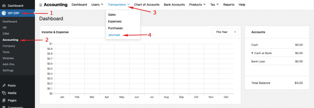 Debit and credit examples with WP ERP accounting
