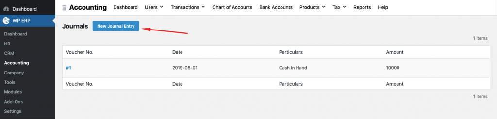 Executing debit and credit rules with WP ERP accounting