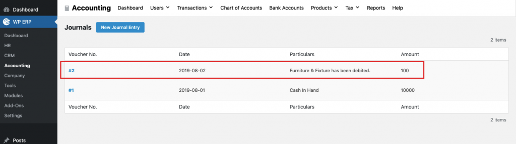 Implementing Debit and credit rules with WP ERP accounting