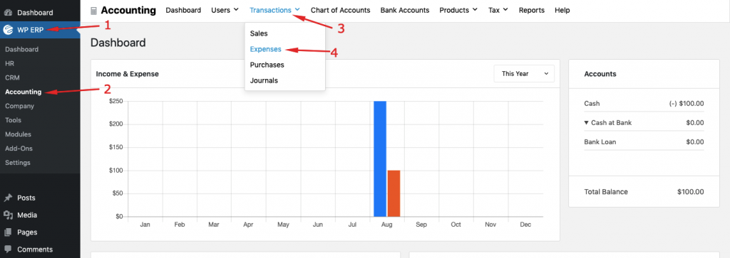 Managing transactions with WP ERP