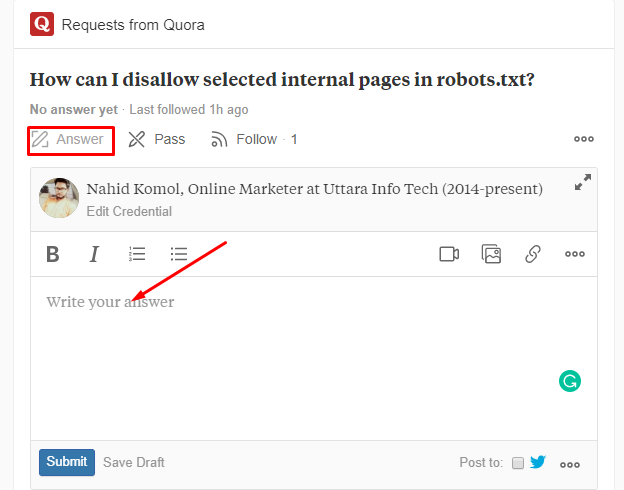 quora ask and answer