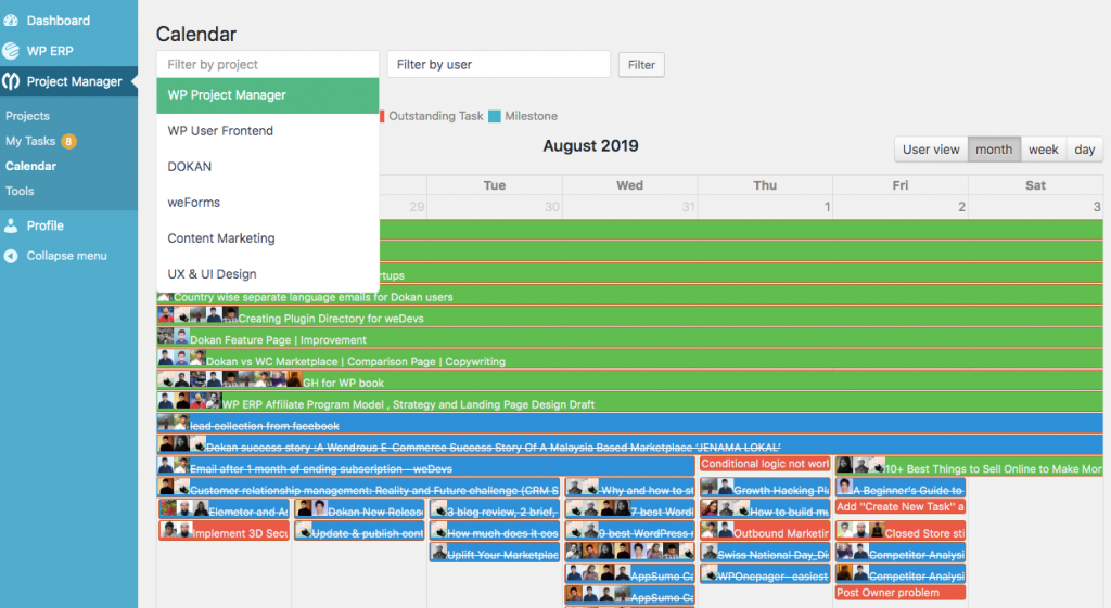 How to track progress of a project through calendar