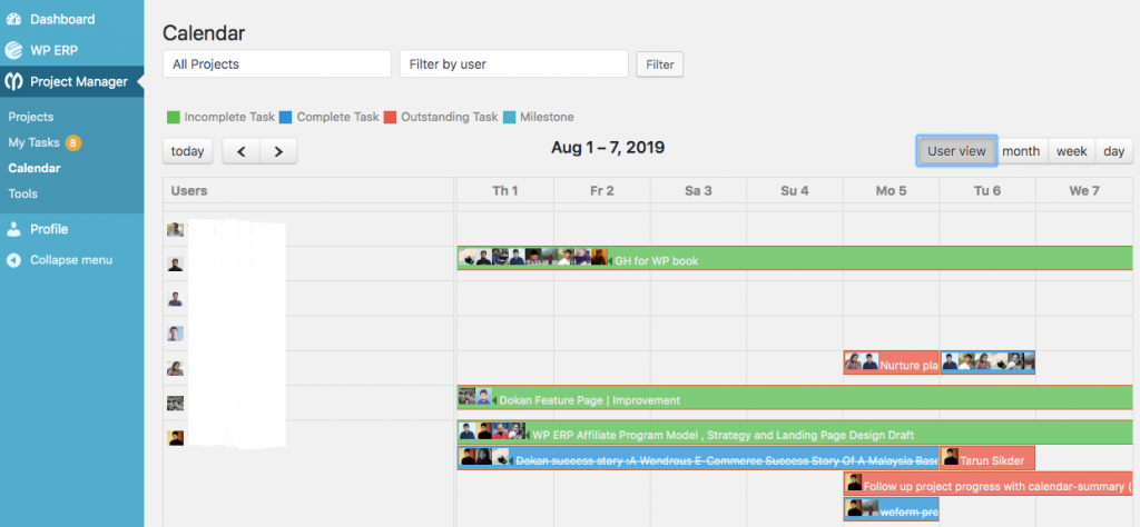 User wise Project Calendar