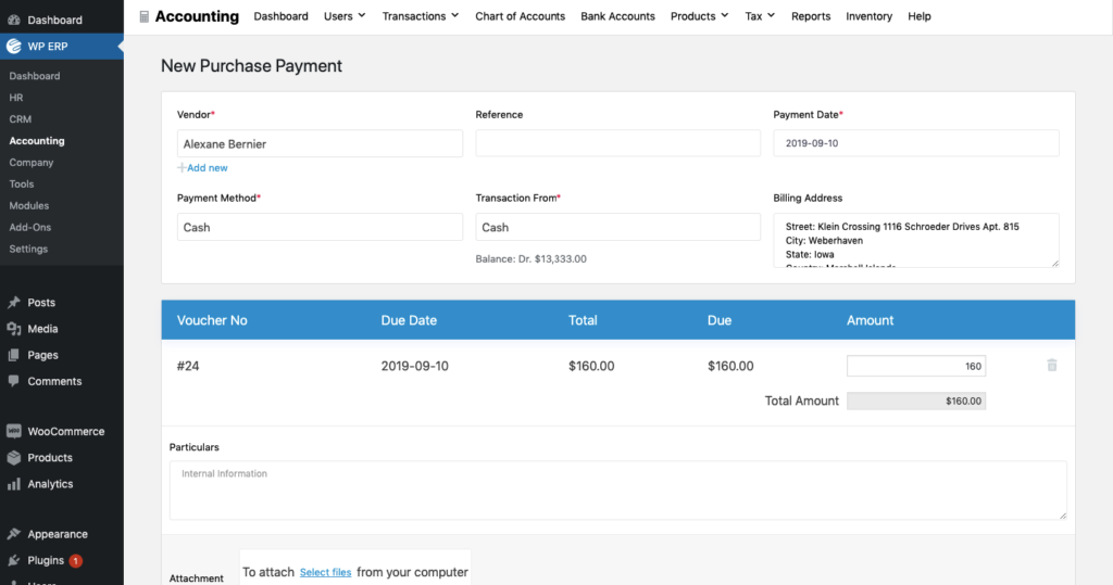 WP ERP Inventory Pay Purchase