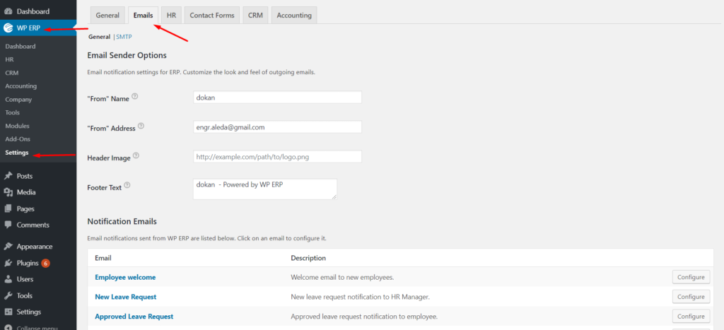 Email template setting