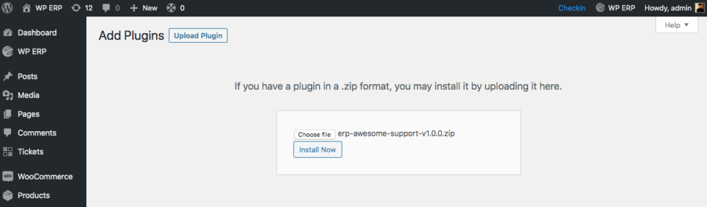 WP ERP Awesome Support Sync zip-file