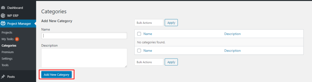 add category in project manager