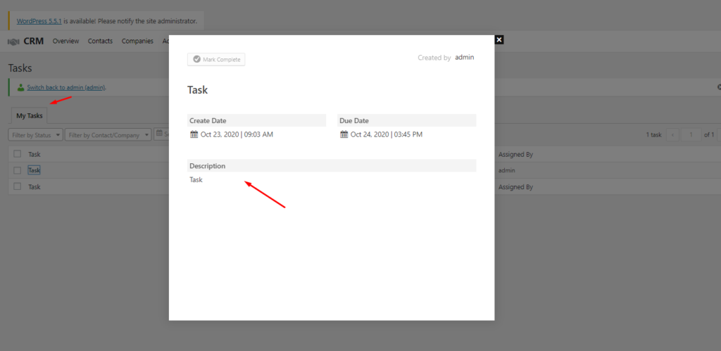 CRM contact's task