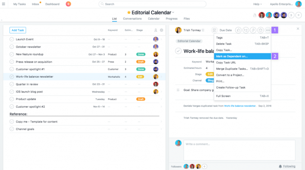 Dependency Management in Asana