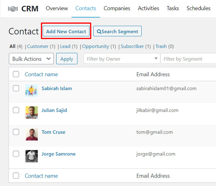 add new contact in ecommerce crm software
