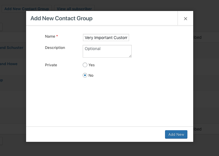 popup Add New Contact Group