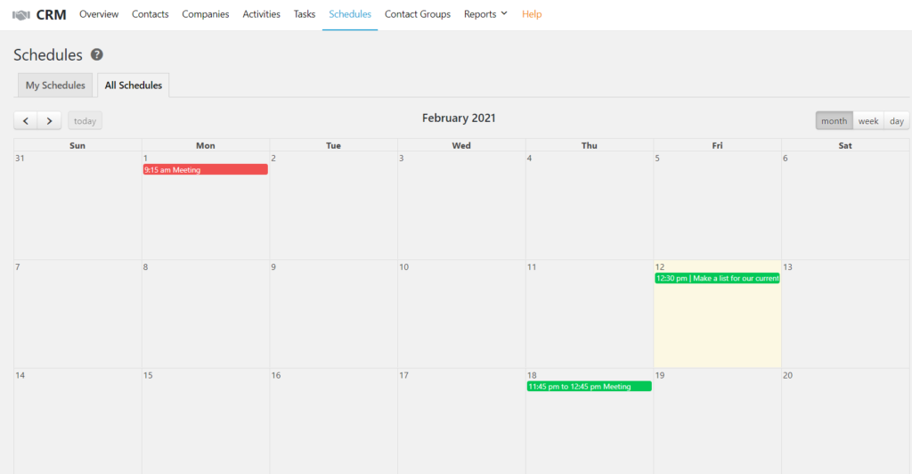 Creating an Event or Log from Calendar