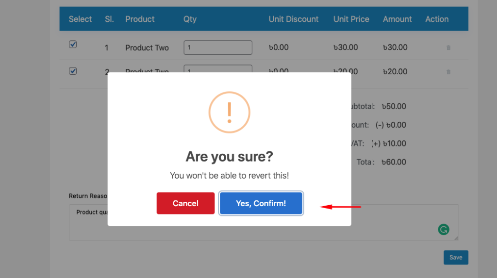 Purchase return confirmation