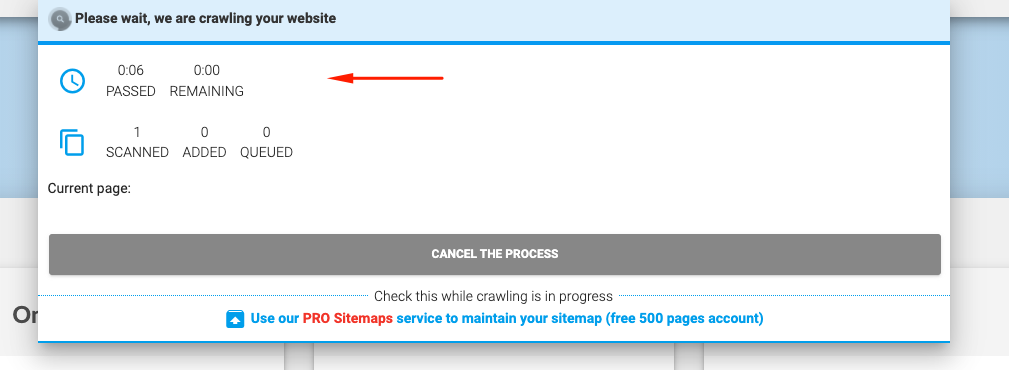 Sitemap is processing